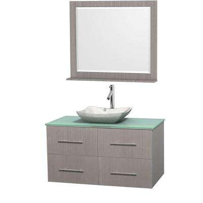 Centra 42 in. Vanity in Gray Oak with Glass Vanity Top in Green, Carrara White Marble Sink and 36 in. Mirror