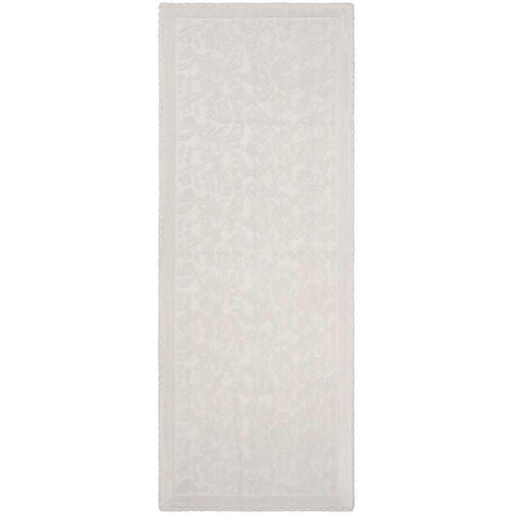 Turkish Cotton Crochet 22 in. x 60 in. Bath Rug in White