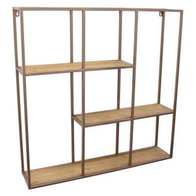 28 in. Abstract Metal/Wood Wall Shelf