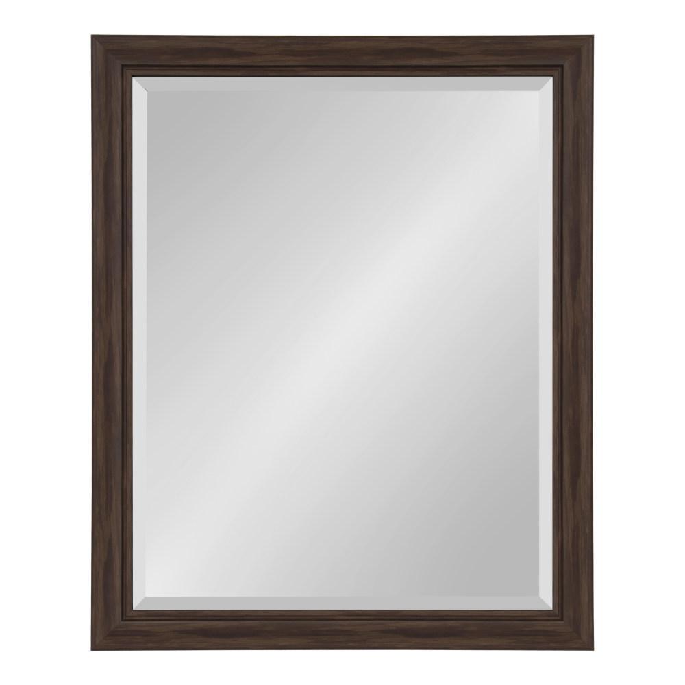 Dalat 26 in. x 32 in. Rectangle Walnut Brown Wall Mirror