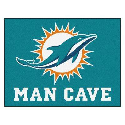 Miami Dolphins Teal Man Cave 3 ft. x 4 ft. Area Rug