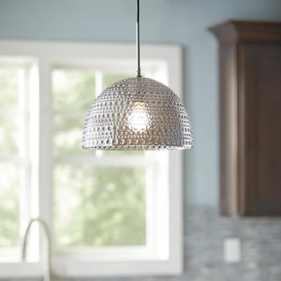1-Light Brushed Nickel and Smoked Glass Mini Pendant