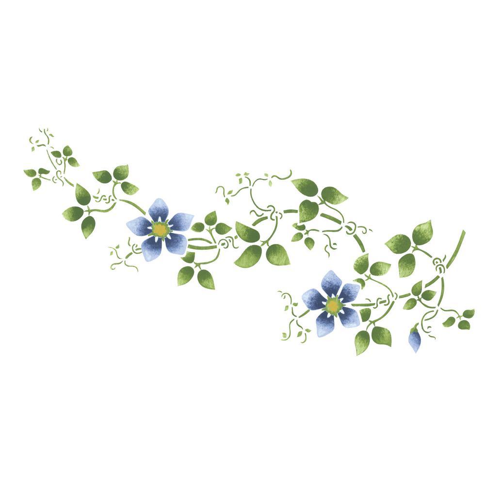 Large Clematis Flower Vine Wall Stencil