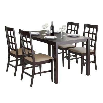 Atwood 5-Piece Dining Set with Taupe Stone Leatherette Seats