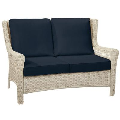 Park Meadows Off-White Wicker Outdoor Patio Loveseat with CushionGuard Midnight Navy Blue Cushions