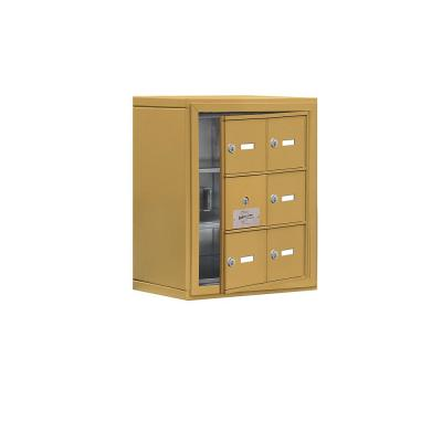 19100 Series 17.5 in. W x 20 in. H x 9.25 in. D 5 Doors Cell Phone Locker Surface Mount Keyed Lock in Gold