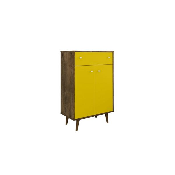 Manhattan Comfort Liberty 28.07 in. Rustic Brown and Yellow Storage Cabinet