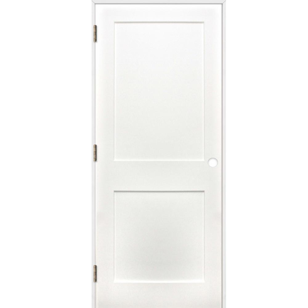 Pacific Entries 36 In X 80 In Shaker 2 Panel Solid Core Primed Pine Reversible Single Prehung Interior Door With Satin Nickel Hinges