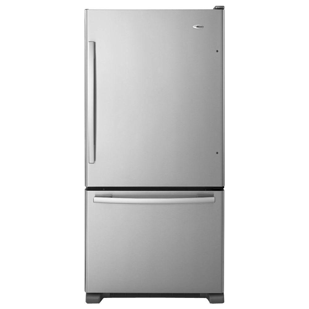 Amana 33 in. W 22.1 cu. ft. Bottom Freezer Refrigerator in Monochromatic Stainless Steel