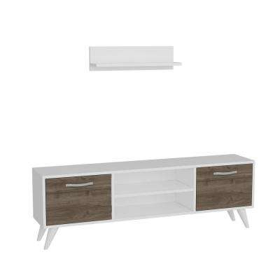 Tandern White and Walnut Modern TV Stand