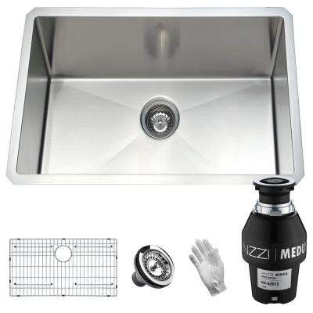 Vanguard Undermount Stainless Steel 23 in. Single Bowl Kitchen Sink with Medusa Series 1/2 HP Garbage Disposal