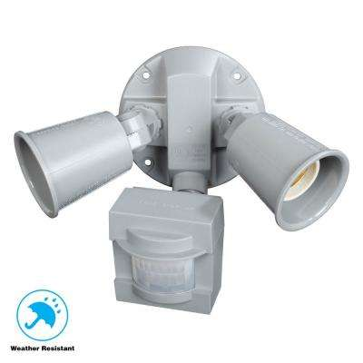 110-Degree 2-Light Grey Motion Activated Outdoor Flood Light
