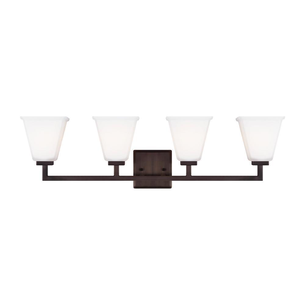 ced81b08286 Ellis Harper 32.5 in. W 4-Light Brushed Oil Rubbed Bronze Vanity Light with  LED Bulbs