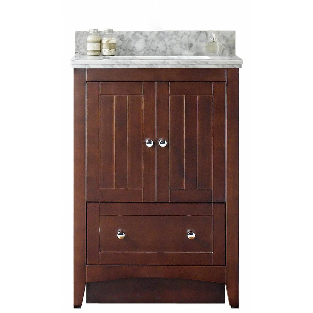 16-Gauge-Sinks 23.75 in. W x 18 in. D Bath Vanity in Walnut with Stone Vanity Top in Bianca Carara with Biscuit Basin