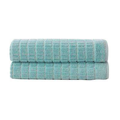 Pure Turkish Cotton Collection 20 in. W x 31 in. H Luxury Bath Mat in Mint (Set of 2)