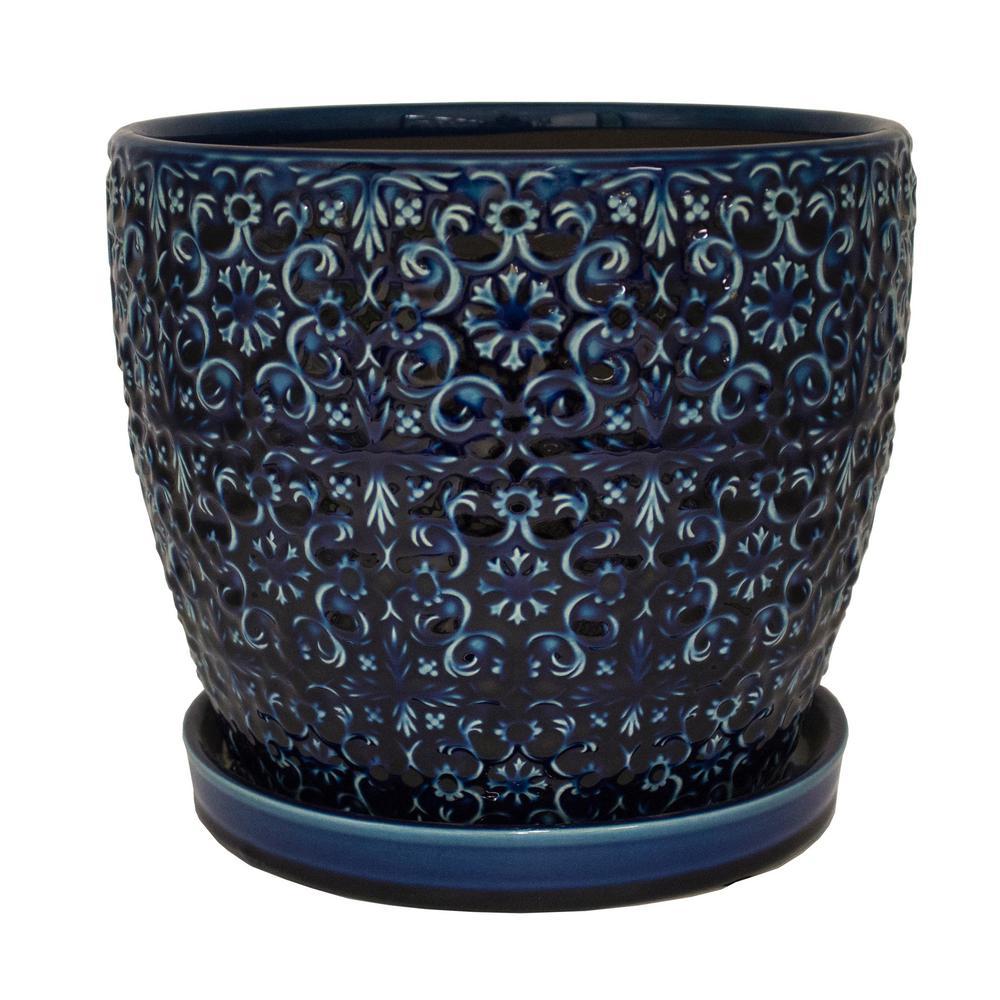 Trendspot 12 In Dia Ceramic Blue Mediterranean Bell