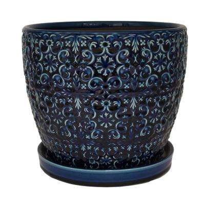 12 in. Dia Ceramic Blue Mediterranean Bell Planter