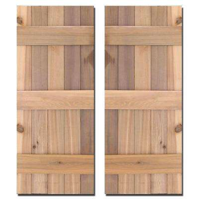 15 in. x 39 in. Natural Cedar Board-N-Batten Baton Shutters Pair
