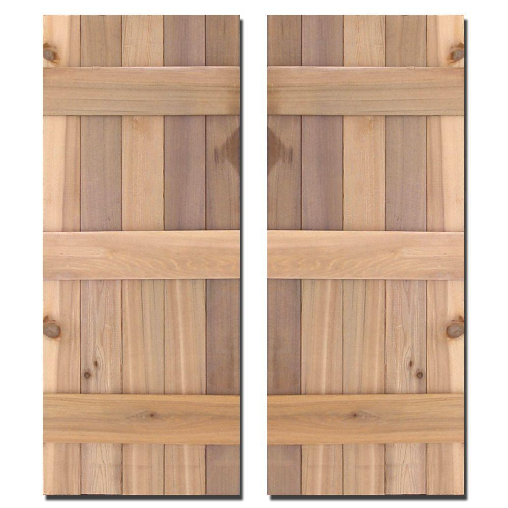 12 in. x 43 in. Natural Cedar Board-N-Batten Baton Shutters Pair