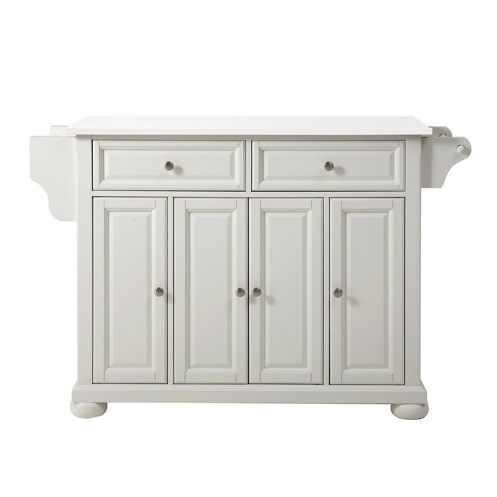 Alexandria White Full Size Kitchen Island/Cart with Granite Top