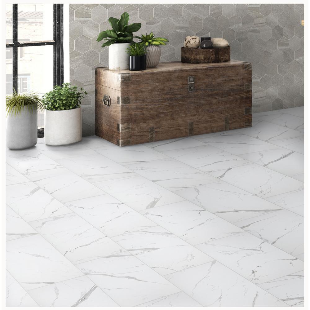 Florida Tile Home Collection Carrara, Porcelain Bathroom Tiles Home Depot