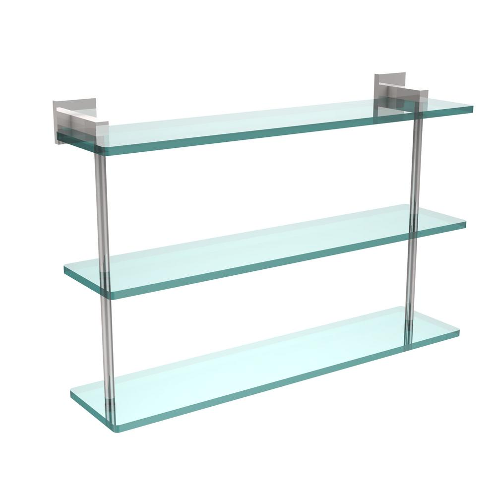 Allied Brass Montero 22 in. L  x 15 in. H  x 6-1/4 in. W 3-Tier Clear Glass Bathroom Shelf in Polished Chrome