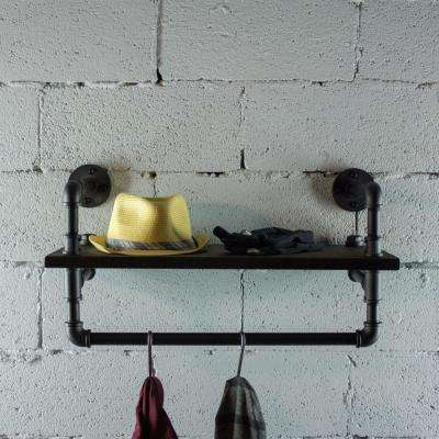 Black Steel Pipe with Reclaimed-aged Wood Shelf and Clothing Rack