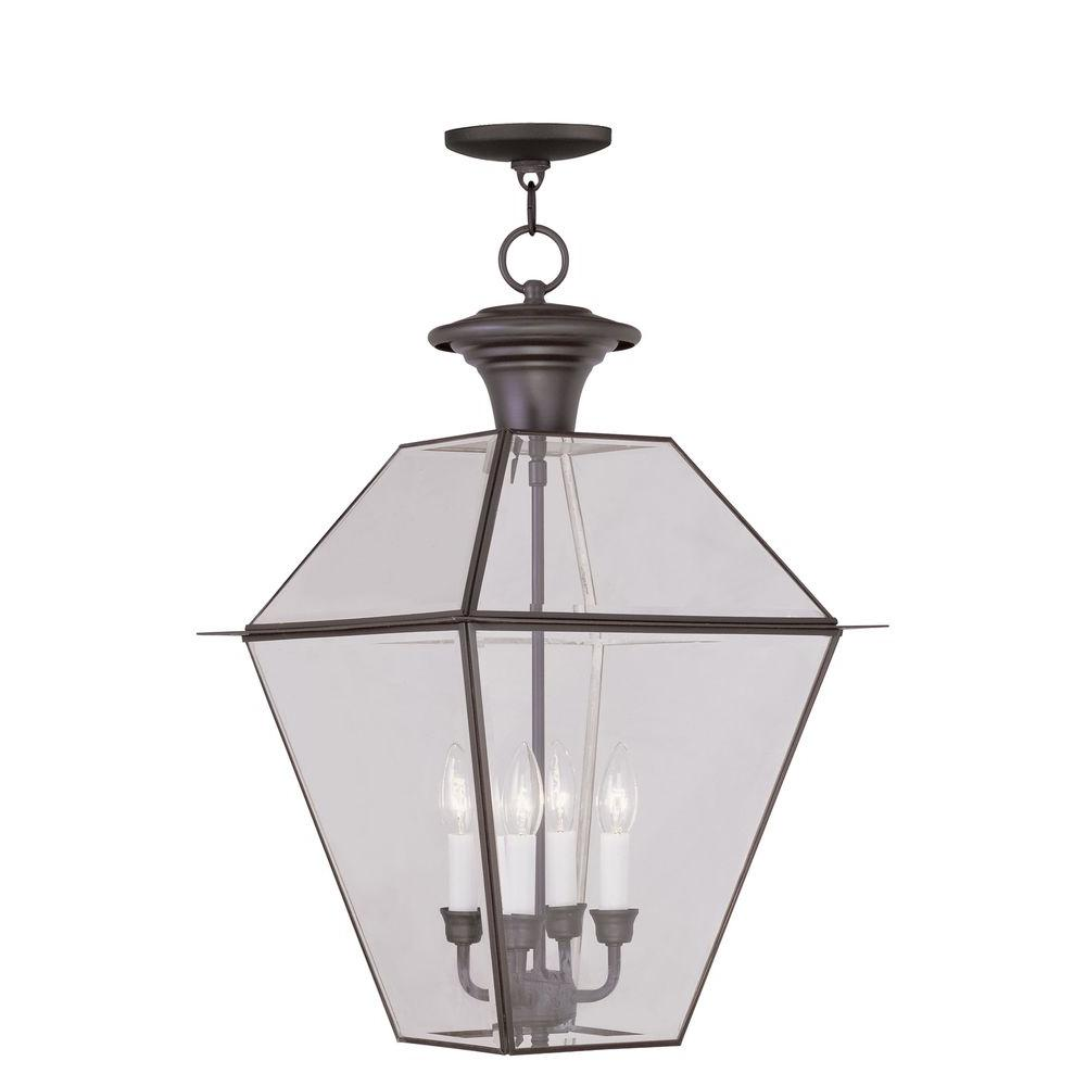 Livex Lighting Providence 4-Light Bronze Outdoor Incandescent Hanging Lantern