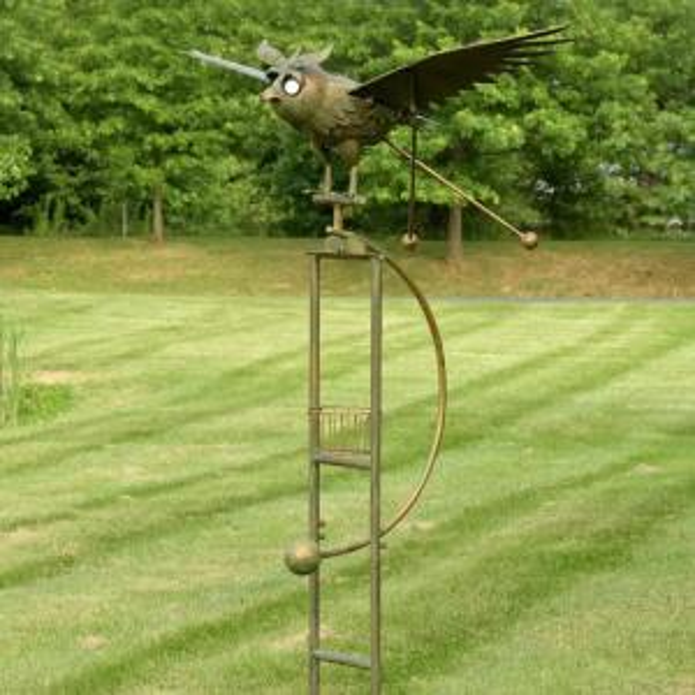 Zaer Ltd. International Large Copper Rocking Owl with Moving Wings, Solar Garden Stake by Zaer Ltd. International