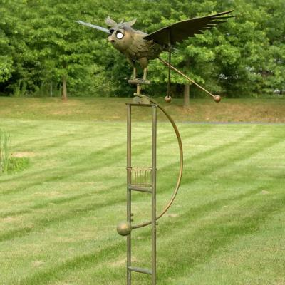 Large Copper Rocking Owl with Moving Wings, Solar Garden Stake