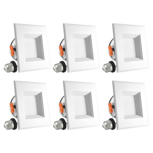 4 in. Square Can Light 10-Watt Bright White 5000K Dimmable Remodel Integrated LED Recessed Lights Kit Damp Rated (6Pack)