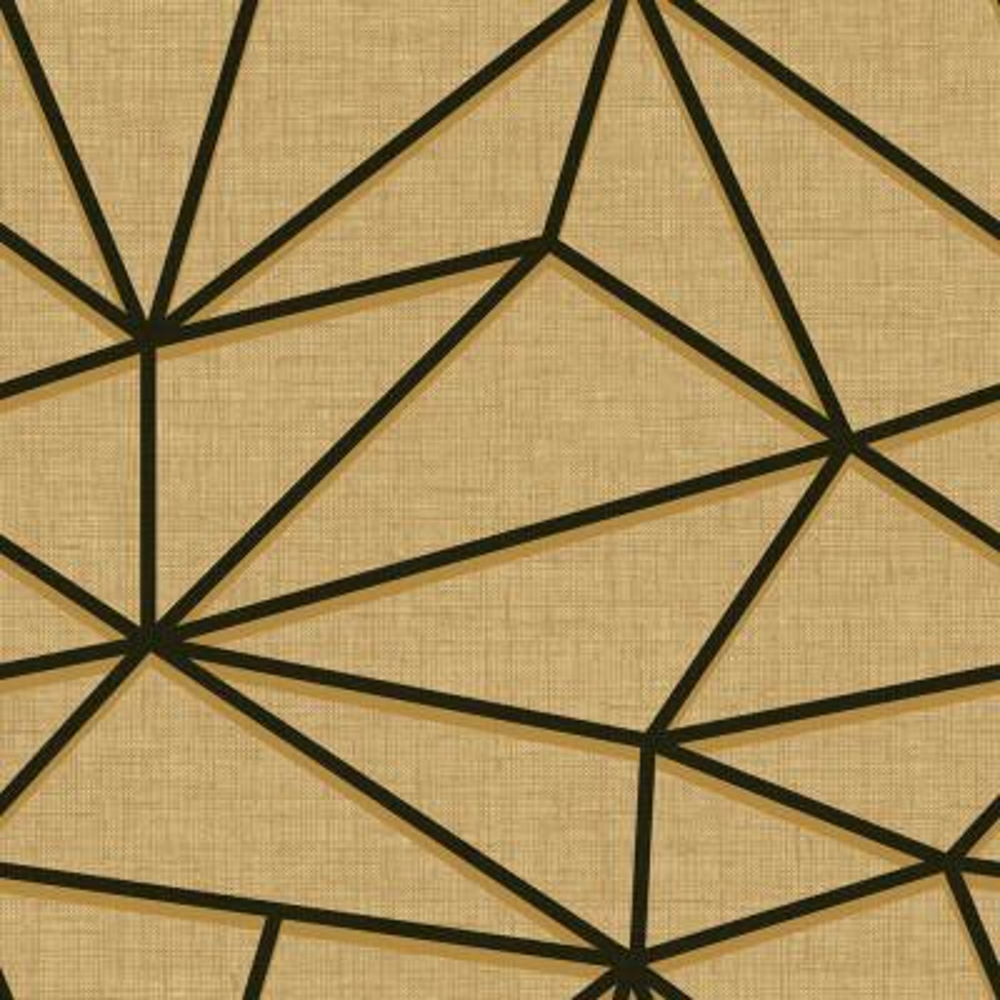 Quartz Metallic Gold and Ebony Geometric Wallpaper