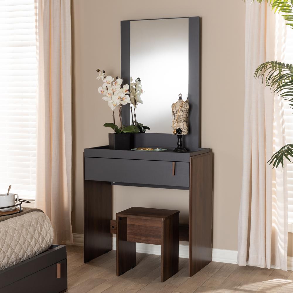 Baxton Studio Rikke 2-Piece Gray and Walnut Bedroom Vanity ...