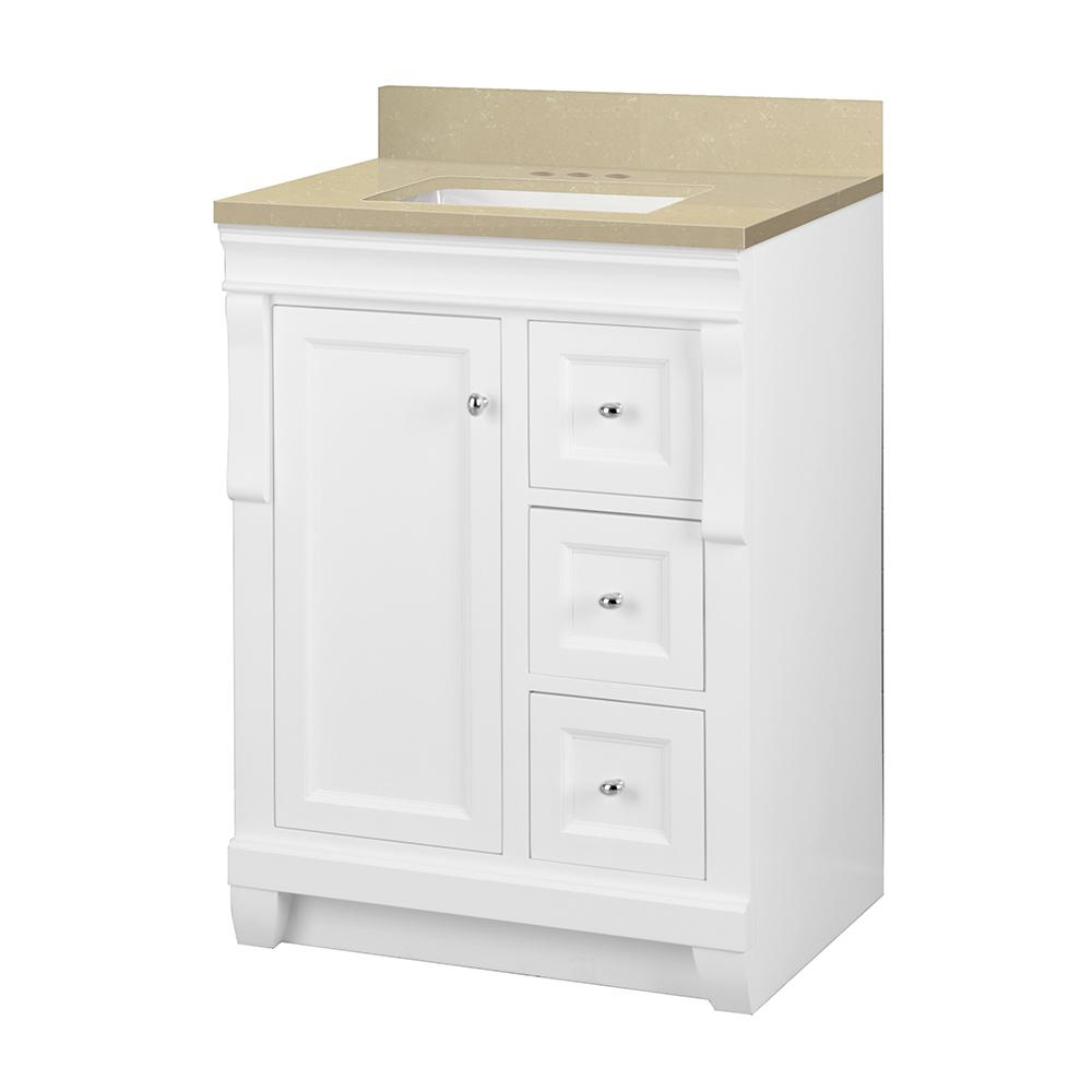 Home Decorators Collection Naples 25 in. W x 22 in. D Vanity in White with Engineered Marble Vanity Top in Crema Limestone with White Sink was $579.0 now $405.3 (30.0% off)