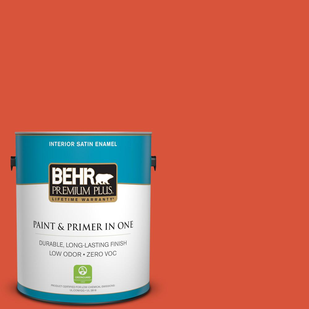 1 gal. #HDC-MD-10G Mod Orange Zero VOC Satin Enamel Interior Paint