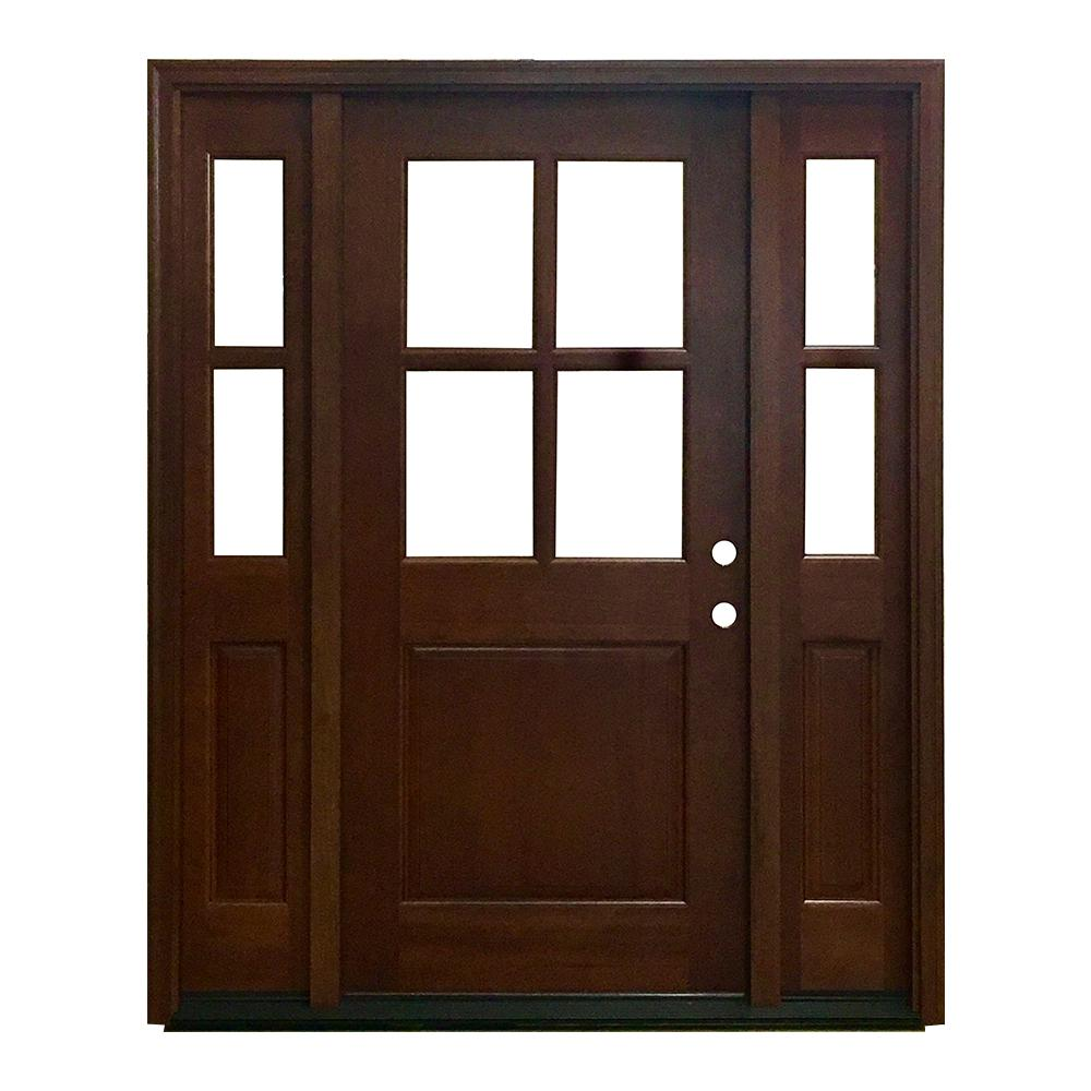 60 in. x 80 in. Farmhouse Ashville Left-Hand Inswing Chestnut Stained