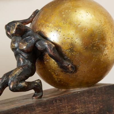 Home Decorators Collection Antiqued Bronze Man with Gold Sphere Decorative Sculpture