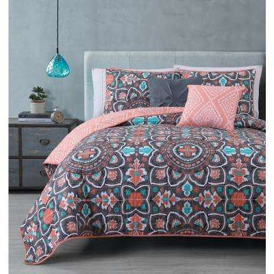 Ibiza 5-Piece Coral Queen Quilt Set