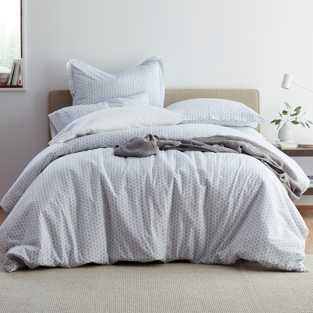 Dana Geo Garment Wash 3-Piece 200-Thread Count Organic Cotton Percale Queen Duvet Cover Set