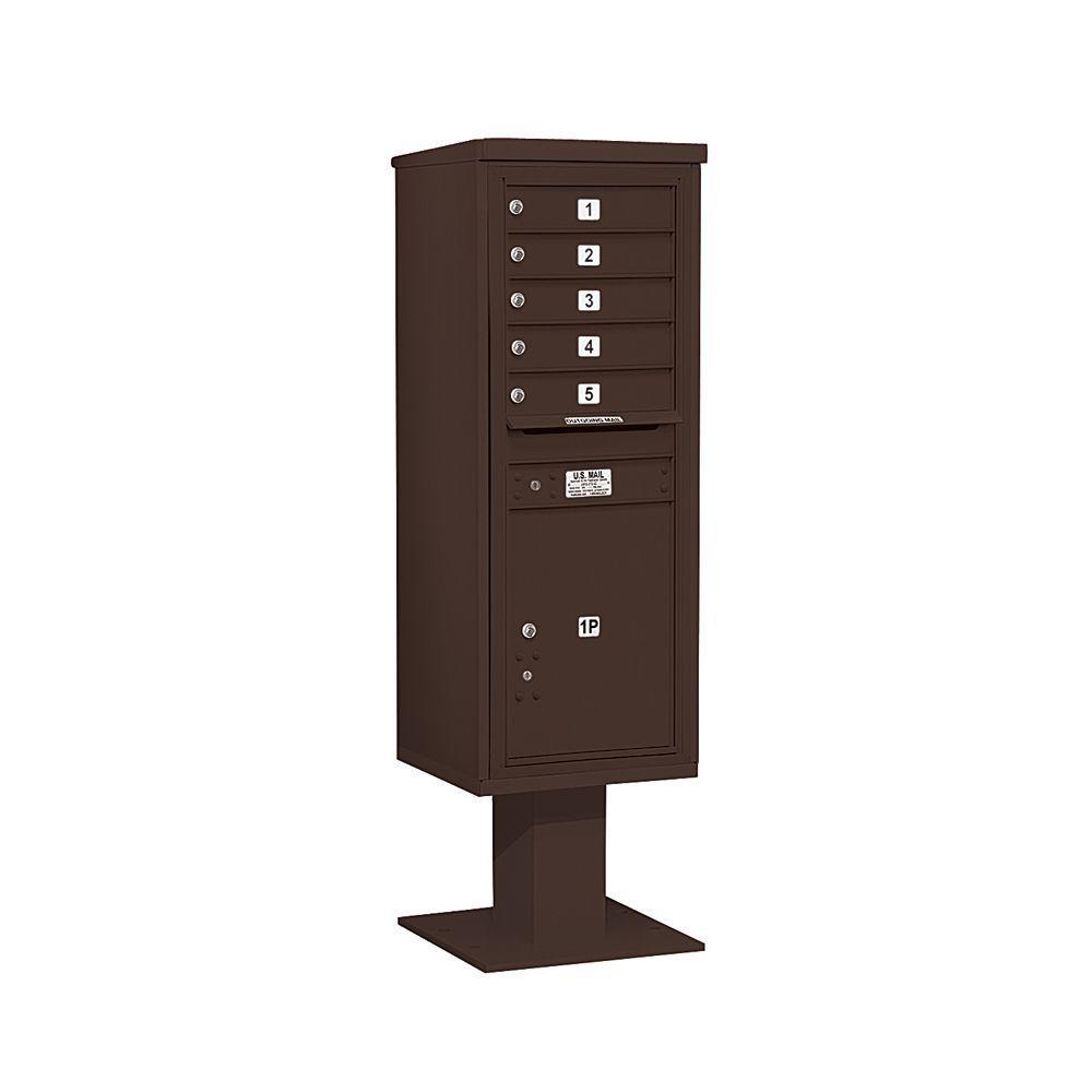 3400 Series 63-1/4 in. 13 Door High Unit Bronze 4C Pedestal Mailbox with 5 MB1 Doors/1 PL6