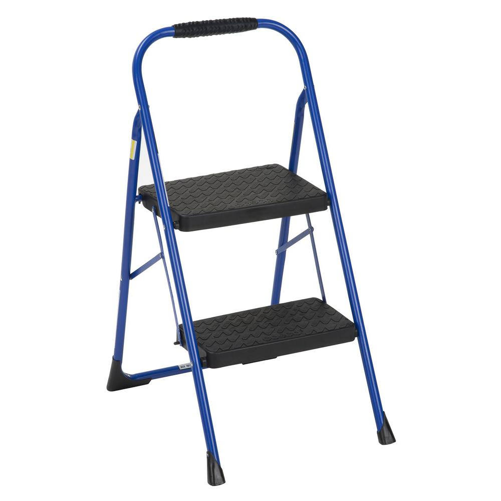 Surprising Cosco 2 Step Steel Big Step Folding Step Stool With Type 3 Rubber Hand Grip In Blue Caraccident5 Cool Chair Designs And Ideas Caraccident5Info