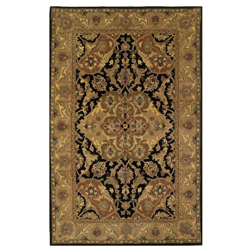 Kas Rugs Aristcacy Black/Coffee 3 ft. 6 in. x 5 ft. 6 in. Area Rug-DISCONTINUED