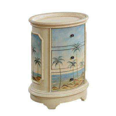 Olosega Ivory Sea View 3-Drawer Oval Chest