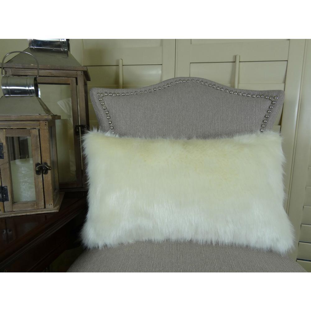Arctic Fox 12 in. x 20 in. White Ivory Hypoallergenic Down Alternative Handmade Throw Pillow