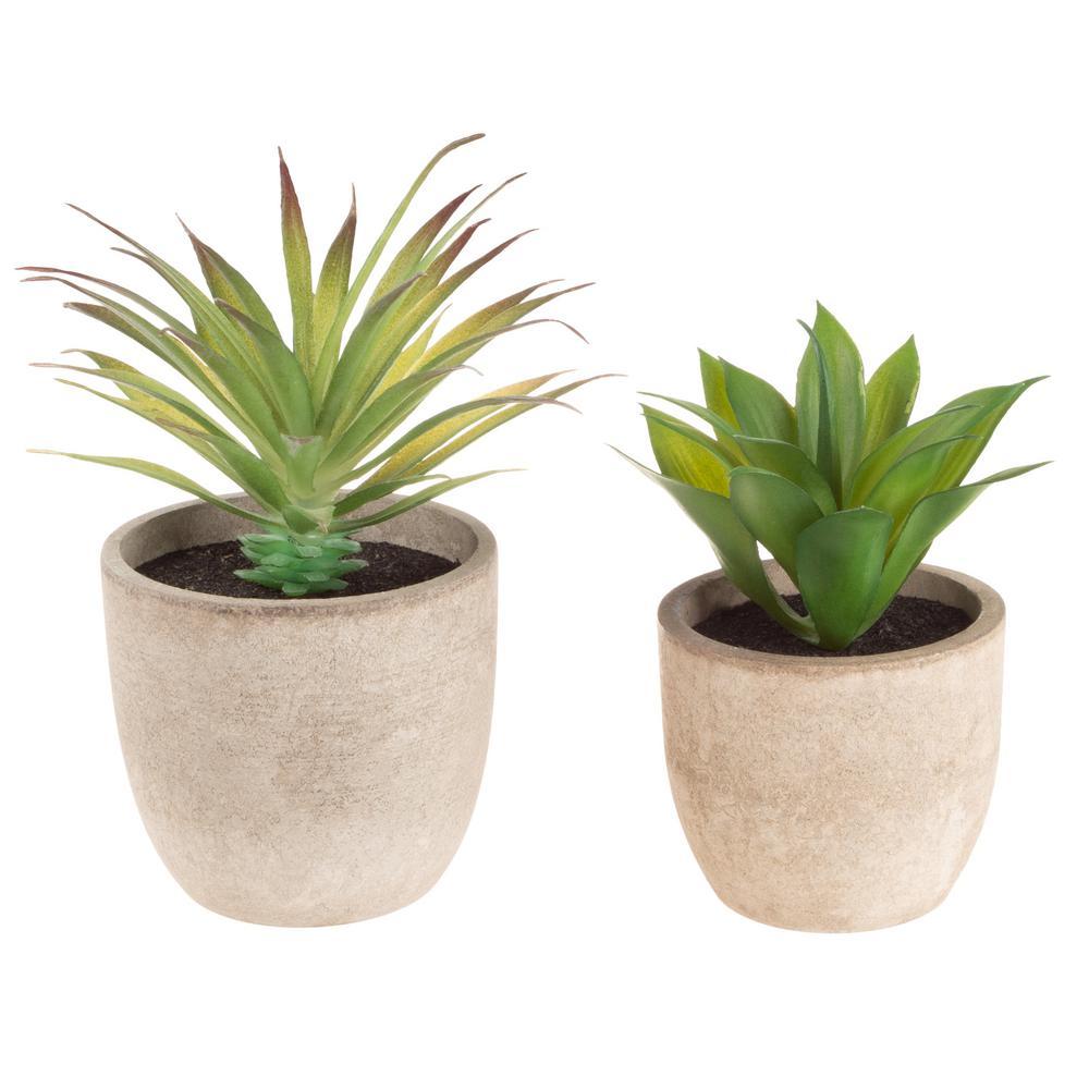 Faux Aloe Plant Arrangements in Stone Pots (Set of 2)