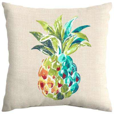 Palmetto Pineapple Square Outdoor Throw Pillow