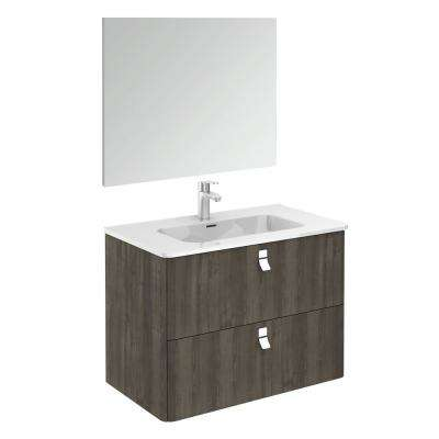 32 in. W x 18 in. D x 23 in. H Complete Bathroom Vanity Unit in Samara Ash with Mirror
