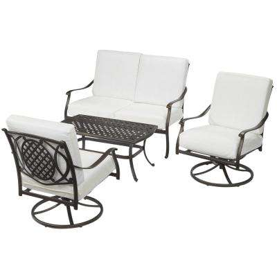 Belcourt Custom Metal 4-Piece Patio Conversation Set with Cushions Included, Choose Your Own Color