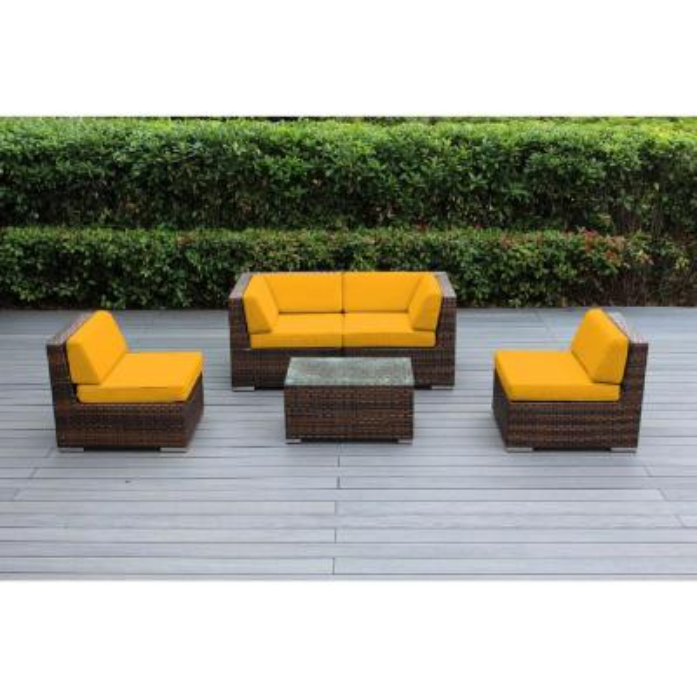 Ohana Mixed Brown 5-Piece Wicker Patio Seating Set with Sunbrella Sunflower Yellow Cushions
