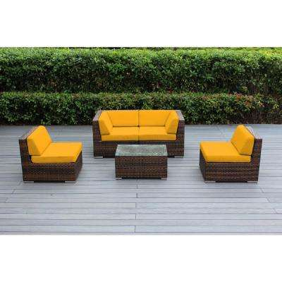 Ohana Mixed Brown 5-Piece Wicker Patio Seating Set with Sunbrella Sunflower Yellow Cushions